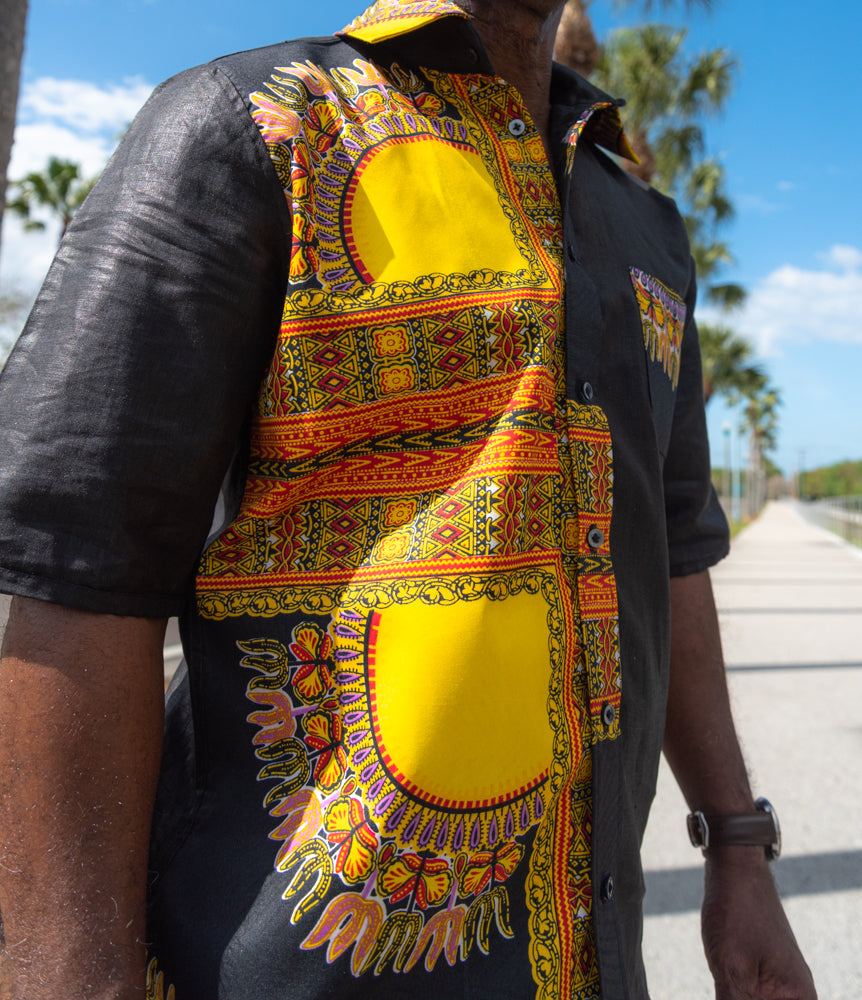 BLACK DASHIKI  SHIRT