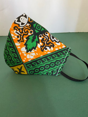 GREEN ORANGE CREST PRINT MASK