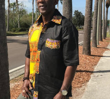 Load image into Gallery viewer, BLACK DASHIKI  SHIRT