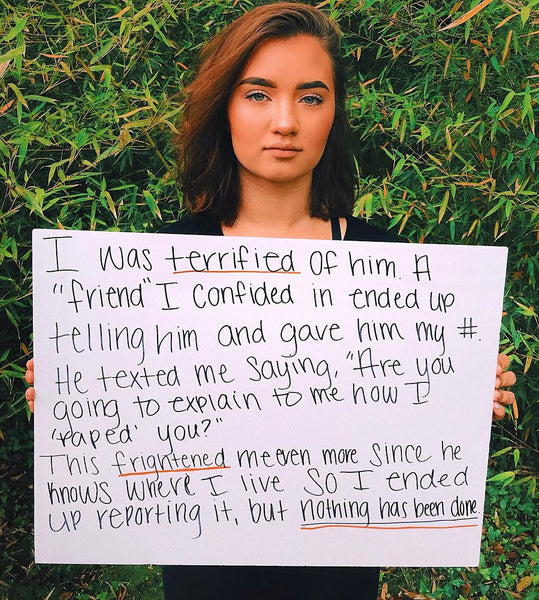 Survivor Cameron Tagavilla shares her story during Sexual Assault Awareness Month
