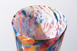 Hand Blown Pint Glass - Rainbow Mix w/ White