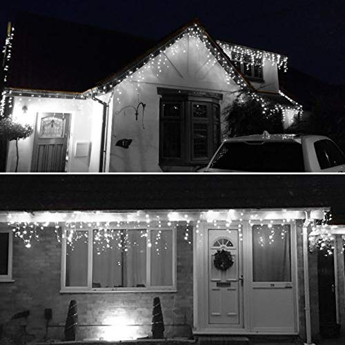 Icicle Lights 1000 Led 35m Bright Cool White Outdoor Christmas Lights Indoor String Fairy Lights Timer Memory Mains Powered 115ft Lit Length 10m 32ft