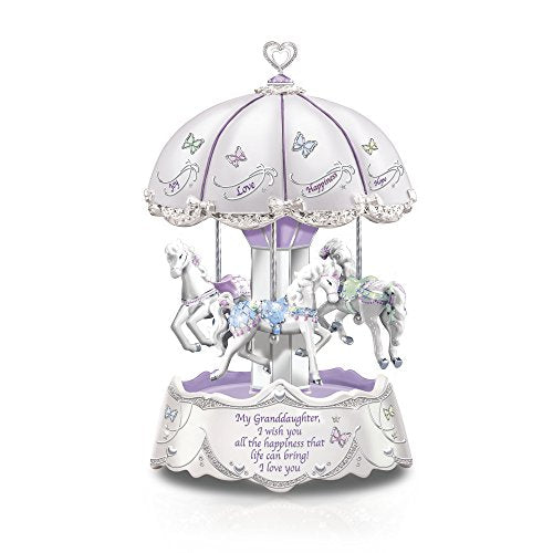 'Granddaughter, I Wish You' Illuminated Carousel Music Box plays: 'Beautiful Dreamer' as it turns. Exclusively Available From The Bradford Exchange