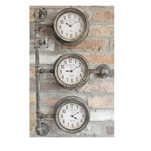 'Old Town Clocks' Triple Clock with Industrial Pipework