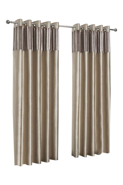 """Paris"" Mink 66"" w X 90"" d Vertical Crushed Velvet Eyelet Ring Top Designer Lined Curtains, Choice Of 8 Sizes And 3 Colours"