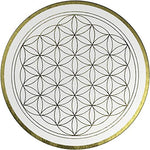 "'Flower of Life Wall Picture in Gold ""Clarity - Hand Painted - 60 cm Round - Flower of Life Design in Silver with Acrylic Color Paint - Canvas on Stretcher Frame Round - Made in Germany"