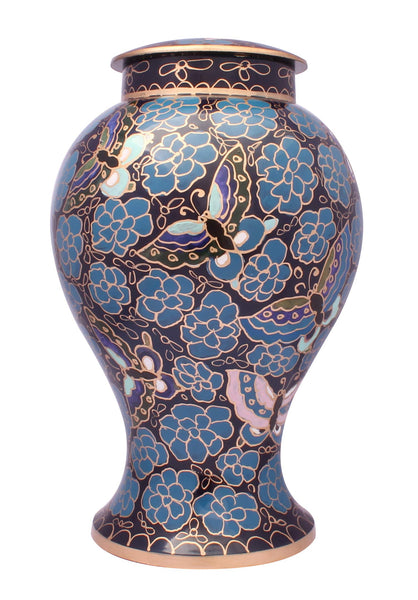 !! SALE !! Large Cremation Ashes Urn, Adult Hand Made & Hand Painted Memorial Urn (Blue)