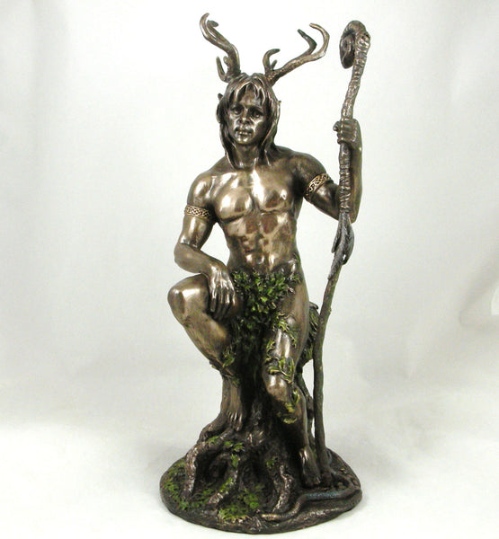 'Herne the Hunter' Bronze Statue Nude Male Pagan Lord of the Forest Figurine Bronzed Ornament