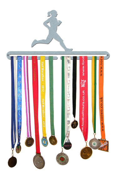 'Female Runner' Medal Hanger Display Holder Brushed Stainless Steel - Made in Britain