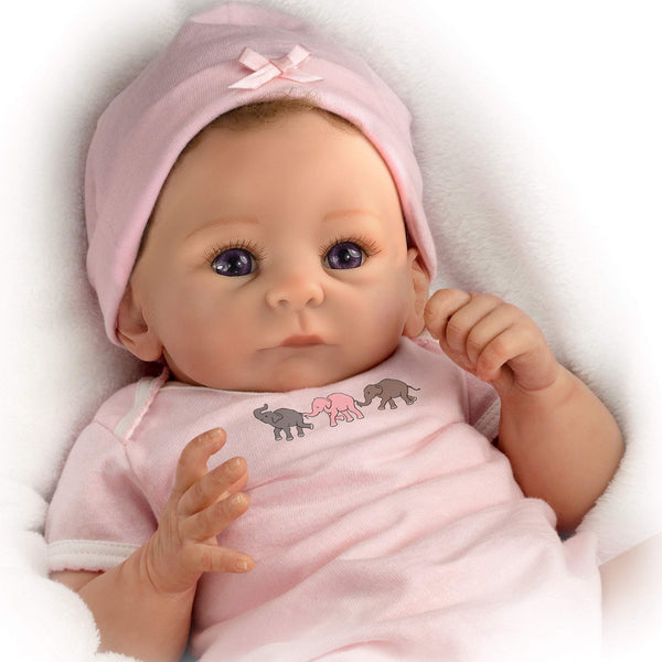 'Little Peanut' - Fully Poseable and Weighted Lifelike Newborn Baby Girl Doll with cute handpainted features and hand-applied hair. - RealTouch Vinyl Skin So Cute Baby Girl Doll By The Ashton - Drake Galleries