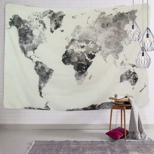 BLEUM CADE Watercolor World Map Tapestry Abstract Splatter Painting Wall  Hanging Art For Living Room Bedroom Dorm Home Decor (70