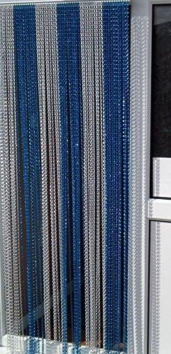 'BLUE/SILVER' - Premium Aluminium Chain Blind/ Screen Blind/ Insect Screen/Chain Screen/Fly Screen/Strip Blind/Bug Blind-UK Standard Door Size: 80cm