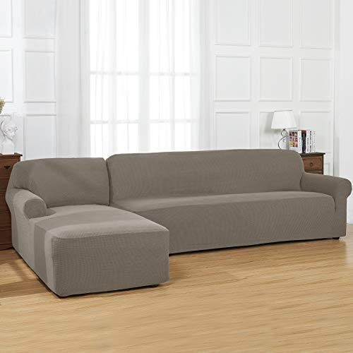 CHUN YI L-Shaped Sofa Cover Couch Covers Jacquard Polyester Stretch Fabric  Sectional Sofa Slipcovers (Left Chaise, Hazel Wood)