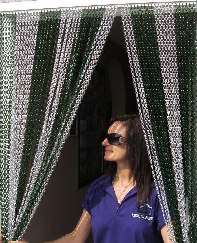"'DEEP GREEN & SILVER' Coloured Premium Aluminium Chain Blind/Screen Blind/Insect Screen/Chain Screen/Fly Screen/Strip Blind/Bug Blind-One metre wide (39.37"")"