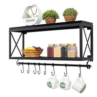Duoer Floating Shelves American Retro Wrought Iron Wood Kitchen Racks Wall Mounted Bathroom Storage Rack Living Room Coffee Cup Shelf Black Size