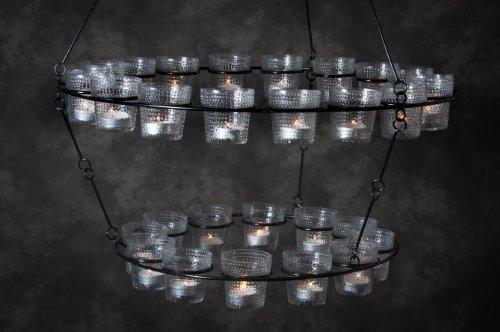'Effies Jupiter' Hanging Tea Light Chandelier with 30 Glass Tea Light Holders - Various Colours Available (Clear Glass)