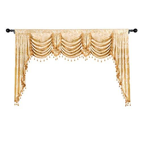 elkca Golden Jacquard Swag Waterfall Valance for Living Room Damask Curtain  Valance for Kitchen (Damask-Golden, W98 Inch, 1 Panel)