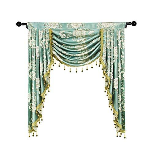 elkca Jacquard Single Swag Waterfall Valance for Living Room Floral Blue  Curtain Valance for Bedroom (Floral-Blue, W39 Inch, 1 Panel)