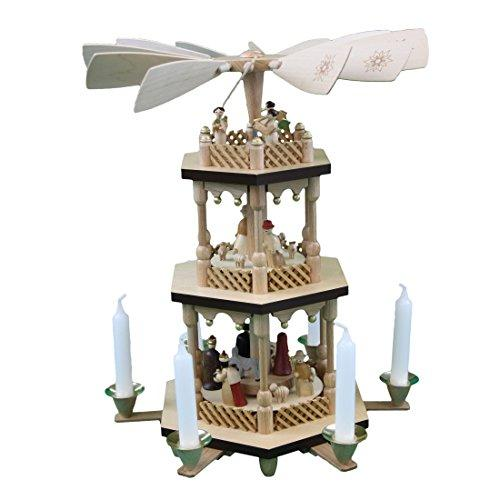 Christmas Pyramid.Glasser Christmas Pyramid 13721 Rotating Nativity Scene Hand Crafted Wood Height 38 Cm