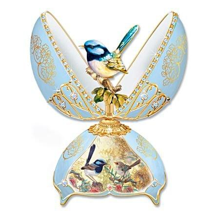 'Glittering Fairy Wren' Musical egg ornament, showcasing artwork by Joy Scherger and inspired by Peter Carl Fabergé's famous jewelled eggs