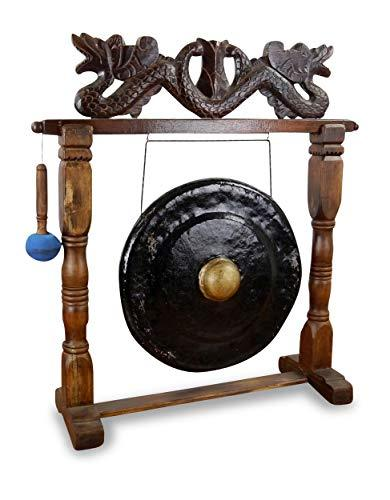 """Great"" Asian Gong, Bali Decor, Brass Gong With Albezia Wood Frame, Dinner Gong (Indonesia)"