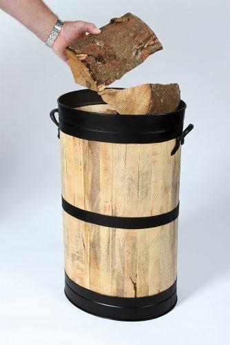 'Hofburg' Wooden Storage Basket/Barrel - Wood Store/Umbrella & Walking Stick Stand (Black Trim)