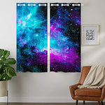 """HommomH"" 42 x 63 inch Curtains (2 Panel) Grommet Top Darkening Blackout Room Nebula Galaxy Blue"