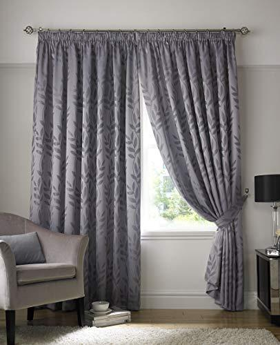Jacquard Vine Leaf Woven Fully Lined Blockout Chrome Ring Top Eyelet Curtain Set