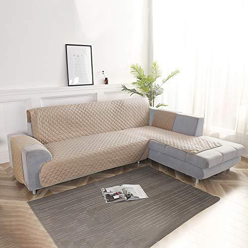Littleduck Corner Sofa Cover 3 Seater 200cm Soft Non-slip Chaise Longue  Sofa Slipcover Furniture Pets Dogs Protector Beige for Left Arm Quilted  Sofas