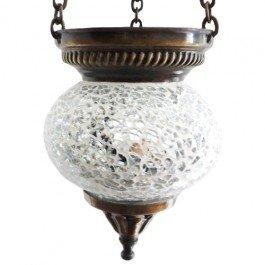 'Marrakech Nights' Mosaic Tealight Lantern Holder - Ideal For Creating Beautiful Ambiance (Large, White)