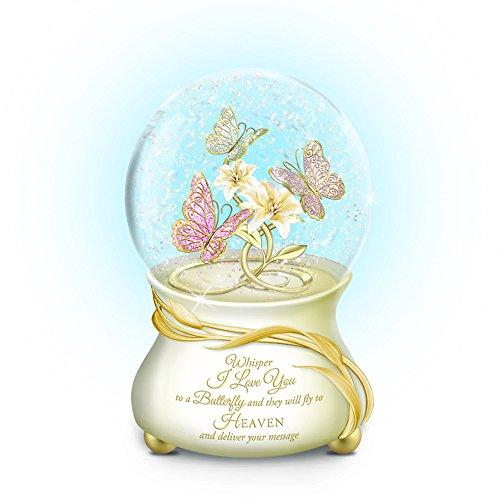 'Message To Heaven' Heirloom Porcelain® Musical Glitter Globe - With Sculptural Butterflies, Plays: 'Always in My Heart'. Exclusively From The Bradford Exchange.