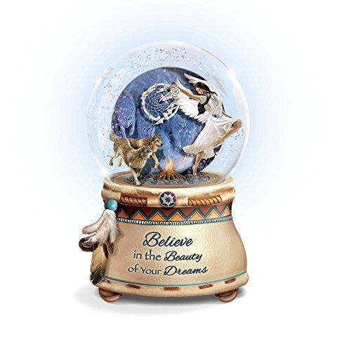 'Mystical Dreams' Native American-Inspired Glitter Globe With Robin Koni Wolf Art, Sculptural Maiden, Wolves And Glowing Fire, Plays: 'Beautiful Dreamer' Exclusively Available From The Bradford Exchange