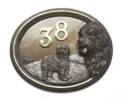 'Old English Sheepdog' Dog Bronze Plaque House Sign