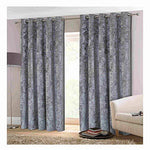 """Opulence"" Grey Silver 90"" w X 90"" d Crushed Velvet Eyelet Ring Top Designer Lined Curtains, Choice Of 8 Sizes And 3 Colours"