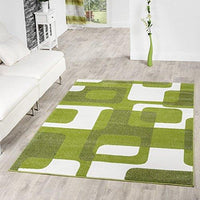 T&T Design Living Room Rug Modern Green Grey White Retro Pattern Short  Pile, Size:240x320 cm