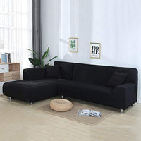 Volwco L Shape Sofa Covers 2pcs Solid Color Sofa Covers 3 Seater Stretch  Sofa Slipcovers with 16 Pcs Sponge Sticks Universal Stretch Polyester  Fabric ...