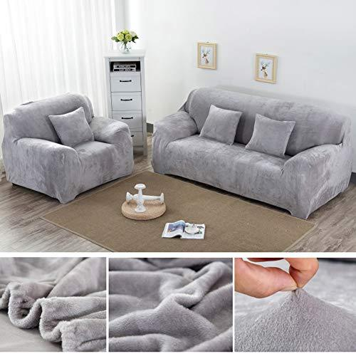Yeahmart Thick Sofa Covers 1/2/3 Seater Pure Color Sofa Protector Velvet  Easy Fit Elastic Fabric Stretch Couch Slipcover (Silver Grey, 3 Seater ...
