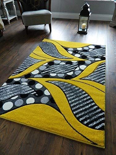 Yellow Black Silver Grey Off White Leaves Design Small Medium Xx Large Rug New Modern Soft Thick Carved Carpet Non Shed Runner Bedroom Living Room