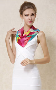 Women's 100% Silk Neckerchief with Graphic Print, 20*20 Inch