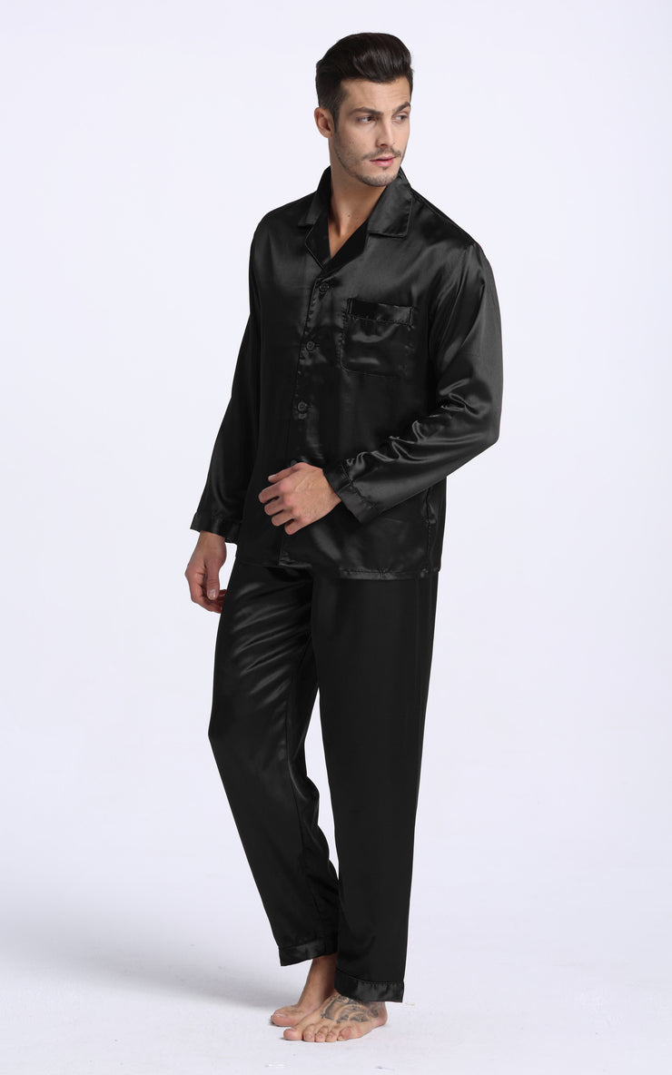 Men's Silk Satin Pajama Set Long Sleeve-Black