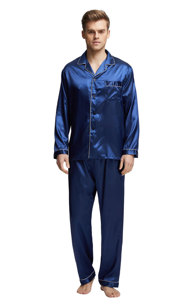 Men's Silk Satin Pajama Set Long Sleeve-Navy Blue with White Piping