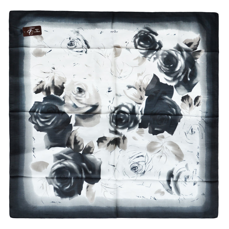 Women's 100% Silk Square Scarf with Graphic Print, 33*33 Inch (Black and White Flowers Print)