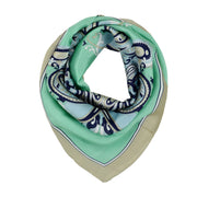 Women's 100% Silk Square Scarf with Graphic Print, 33*33 Inch (Green Luxury pattern)