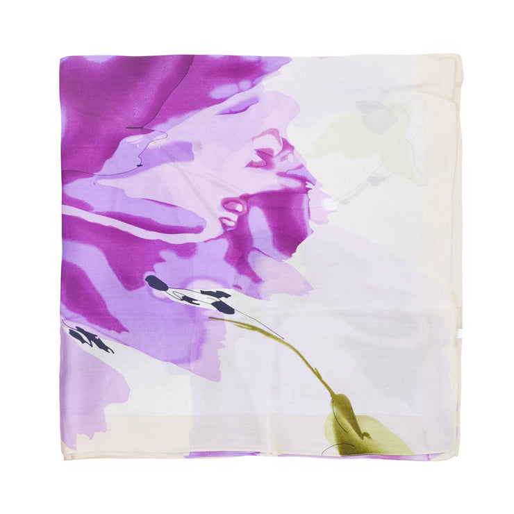 Women's 100% Silk Square Scarf with Graphic Print, 33*33 Inch (Pink Flowers Print)