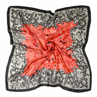 Women's 100% Silk Square Scarf with Graphic Print, 33*33 Inch (Red Rose pattern print)