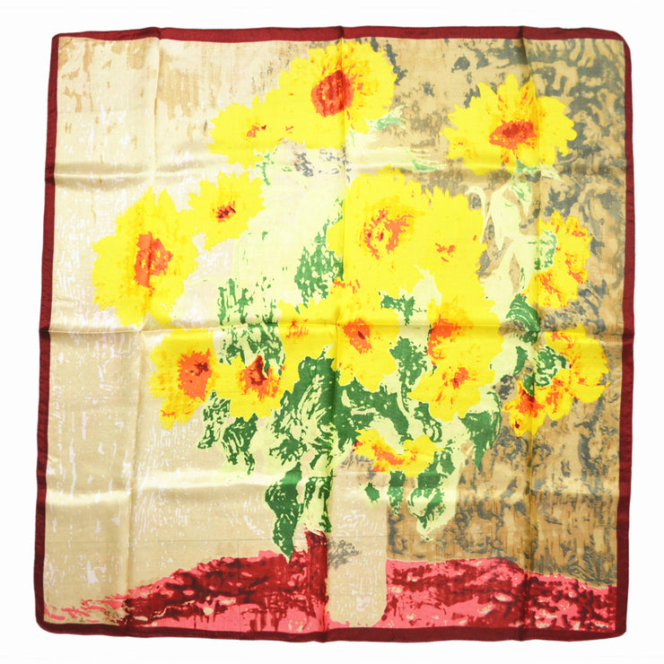 Women's 100% Silk Square Scarf with Graphic Print, 33*33 Inch (Van Gogh's sunflower oil painting)