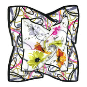 Women's 100% Silk Square Scarf with Graphic Print, 33*33 Inch (White Flowers Print)