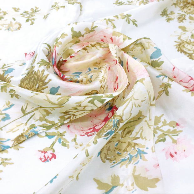 Women's 100% Silk Square Scarf with Graphic Print, 33*33 Inch (White and Pink Flowers Print)
