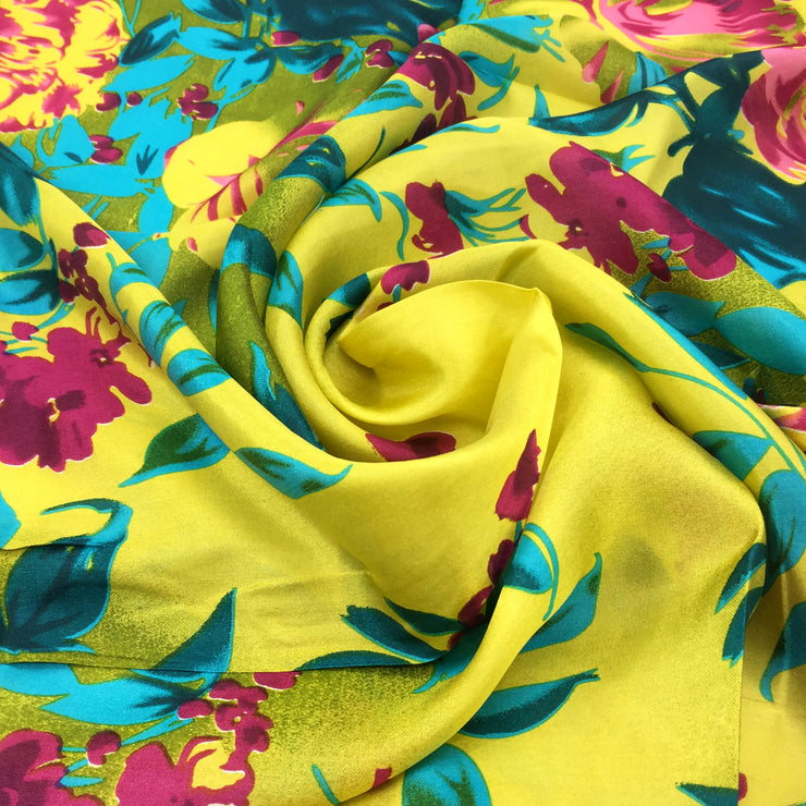 Women's 100% Silk Square Scarf with Graphic Print, 33*33 Inch (Yellow Flowers Print)