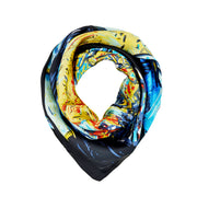 Women's 100% Silk Square Scarf with Graphic Print, 33*33 Inch (cafe oil painting pattern print)